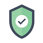 A green shield with a checkmark representing network security consulting.