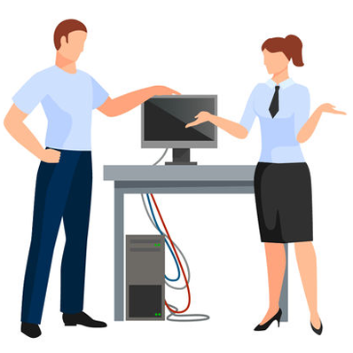 IT support helpdesk professional assisting business woman.