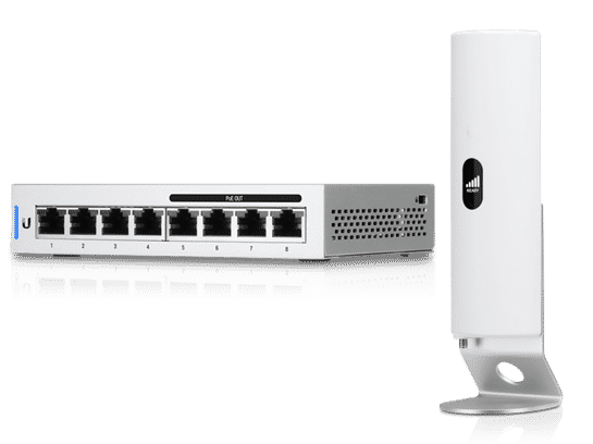 LTE Backup Internet antenna with 8 port Power over Ethernet POE switch.