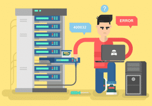 A network administrator troubleshooting business equipment issues & errors.