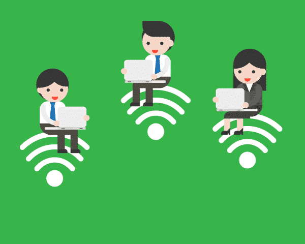 2 men and one 1 woman sitting on top wireless internet signal icons using Wi-Fi